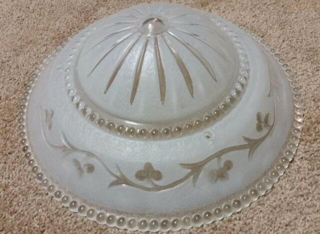 """Vintage 30's 40's  Frosted 3 Chain Glass Light Chandelier Hobnail Floral 12"""""""