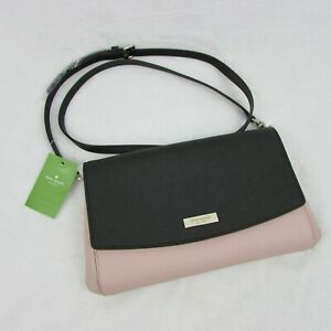 Kate-Spade-Laurel-Way-Greer-Black-amp-Warm-Vellum-Pink-Crossbody-Handbag-Purse