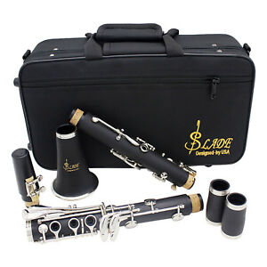 LADE-Black-Bakelite-Professional-17-Key-Bb-Clarinet-amp-Case-amp-Care-Kit-amp-Warranty