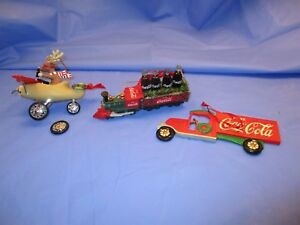 Coca-Cola Coke Christmas tree ornaments lot set reindeer plane,train,truck