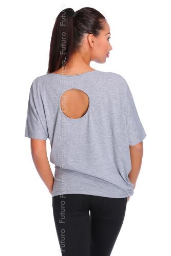 Ladies Unique Asymmetric Top Open Back T-Shirt Short Sleeve Size 8-12 FT1993