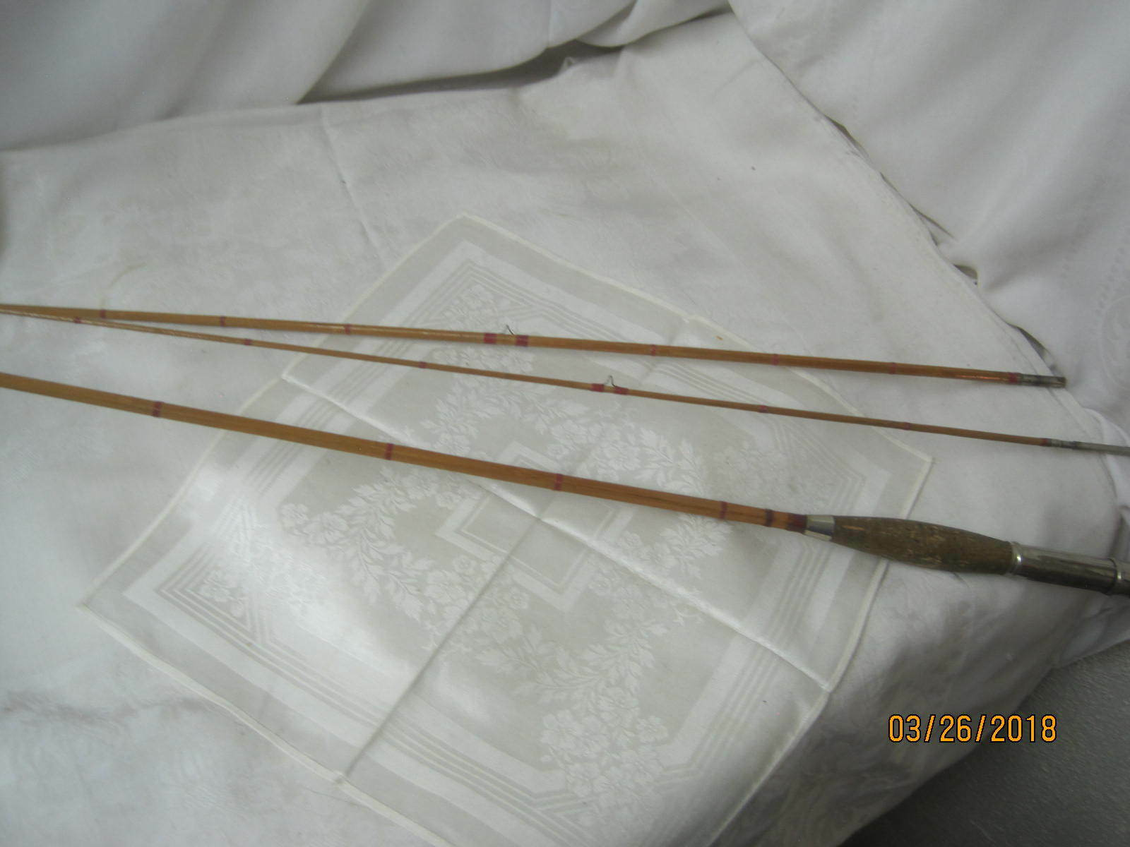 Vintage Bamboo 3 piece Fly Fishing Rod Cork Handle