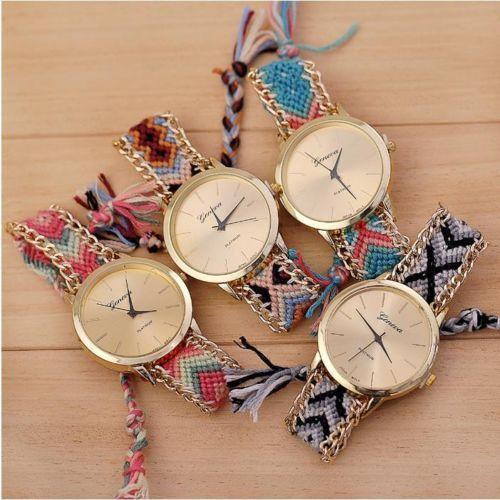 Lady Geneva BOHO Style Braid Bracelet Ethnic Dial Analog Quartz Chain Wristwatch