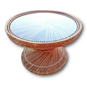 Image Is Loading Vintage Woven Rattan Coffee Accent End Side Table