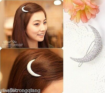 Fashion Korean Style Women Crystal Moon Hair Clips Barrette Hairpins