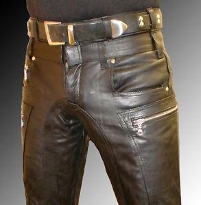 Designer Leder leather black designer leather biker trousers leather