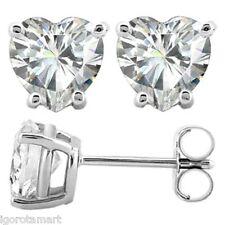 Quality .925 Silver Earrings CZ Clear Crystal Gem Heart Ear Stud Earrings 6mm