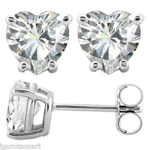 Pair-Solid-925-Sterling-Silver-6mm-Clear-Heart-CZ-Crystal-Ear-Stud-Earrings