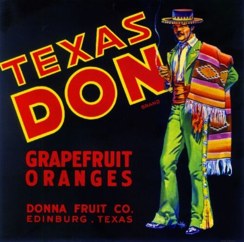 Edinburg Texas Don Orange Grapefruit Citrus Fruit Vintage Crate Label Art Print