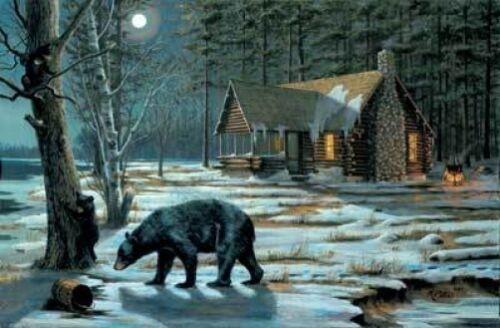 "Mary Pettis  Bear Cabin print-SWEET CURIOSITY  Image 20.75/"" x 13.5/"""