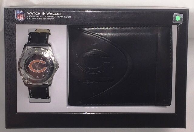 NFL Chicago Bears Game Time Analog Watch   Bifold Wallet Gift Set Brand New 6387b5860