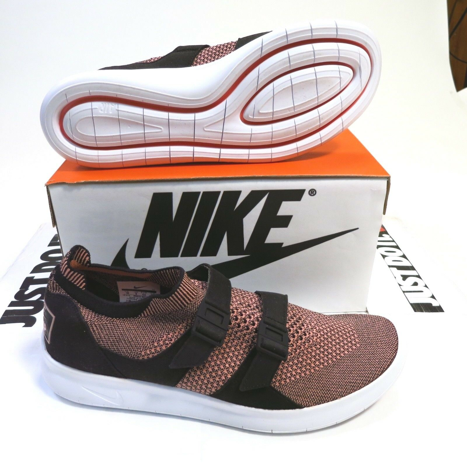 130 Men's Nike Air Sockracer Flyknit Size 9 Black Melon Style 898022 003 NEW