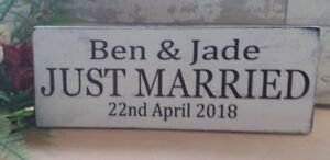 Personalised-JUST-MARRIED-Wedding-Sign-Gift-Idea-Shabby-amp-Chic-rustic-plaque