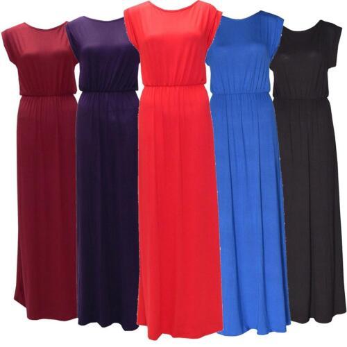 Womens Plus Size Turn Up Sleeve Elasticated Roll Up Long Jeresy Maxi Dress 8-14