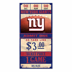 New-York-Giants-Old-Game-Ticket-Holzschild-30-cm-NFL-Football-Wood-Sign