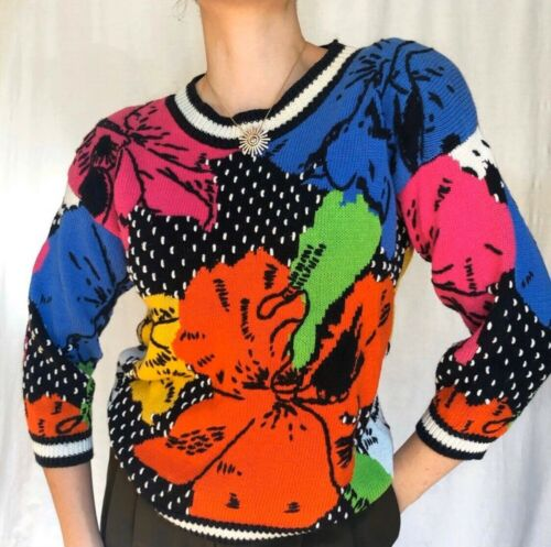 Vintage retro 80's bright colorful floral knit swe