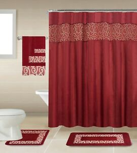 Image Is Loading 18 Piece Shower Curtain Set With Geometric Design