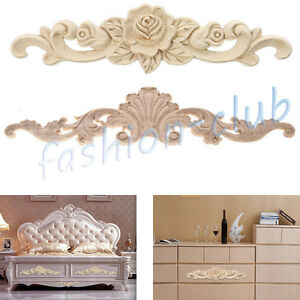 2types wood carved flower onlay unpainted applique frame for Applique furniture decoration
