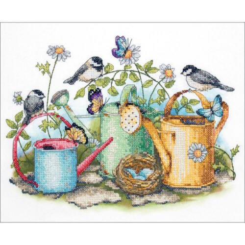 Dimensions 3243 Watering Cans Stamped Cross Stitch Kit