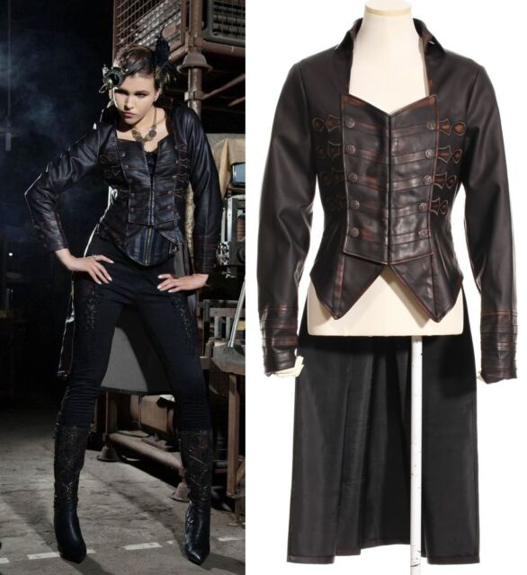 RQ-BL Steampunk Kunst-Leder Mantel Gehrock Gothic Jacket Faux-Leather SP133BK