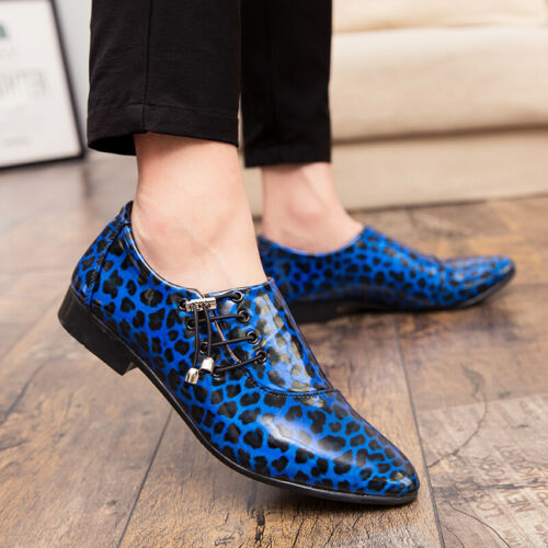 Details about  /Mens Leather Shoes Leopard Printed Korean Casual Pumps Nightclub Slip On Low Top