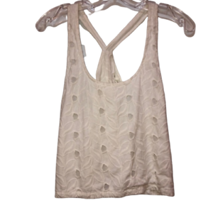 House-of-Harlow-Women-039-s-Small-Cropped-Cami-Shirt-Sleeveless-White-Eyelet-Tops-S