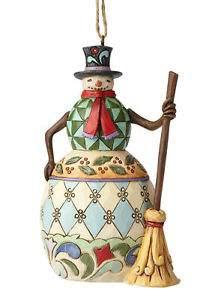 Christmas Enesco Jim Shore ornament Snowman w// broom #113113 New 3.5 in.