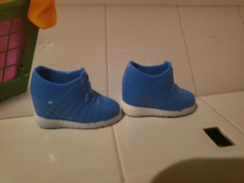 12/' DOLL SHOES BLUE /& WHITE HIGH TOP TENNIS SHOES FOR DOLLS W// BIG FEET