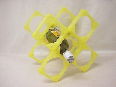 (oy178) Botellero Para 5 Botellas Plastico En Cruz Adaptable Formas Amarillo