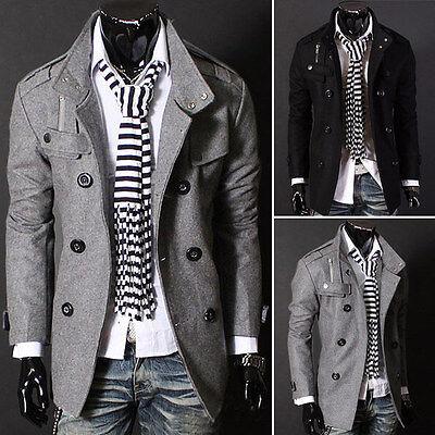 Men Slim Warm Coat Jacket Stylish Woolen Double-breasted Trench Coat Outwear Y23