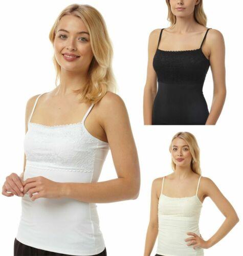 Spaghetti Strap Stretch Cami Vest Top Support Bra Nude Black 8-22 Plus size