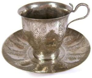 Antique-Indian-Silver-Chased-Cobra-Snake-Handle-Cup-amp-Saucer-Islamic-Influence