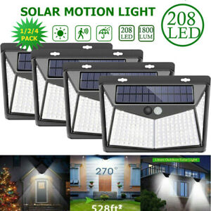 4X Super Bright Solar Powered Fence Wall Lights LED Outdoor For Garden Lighting