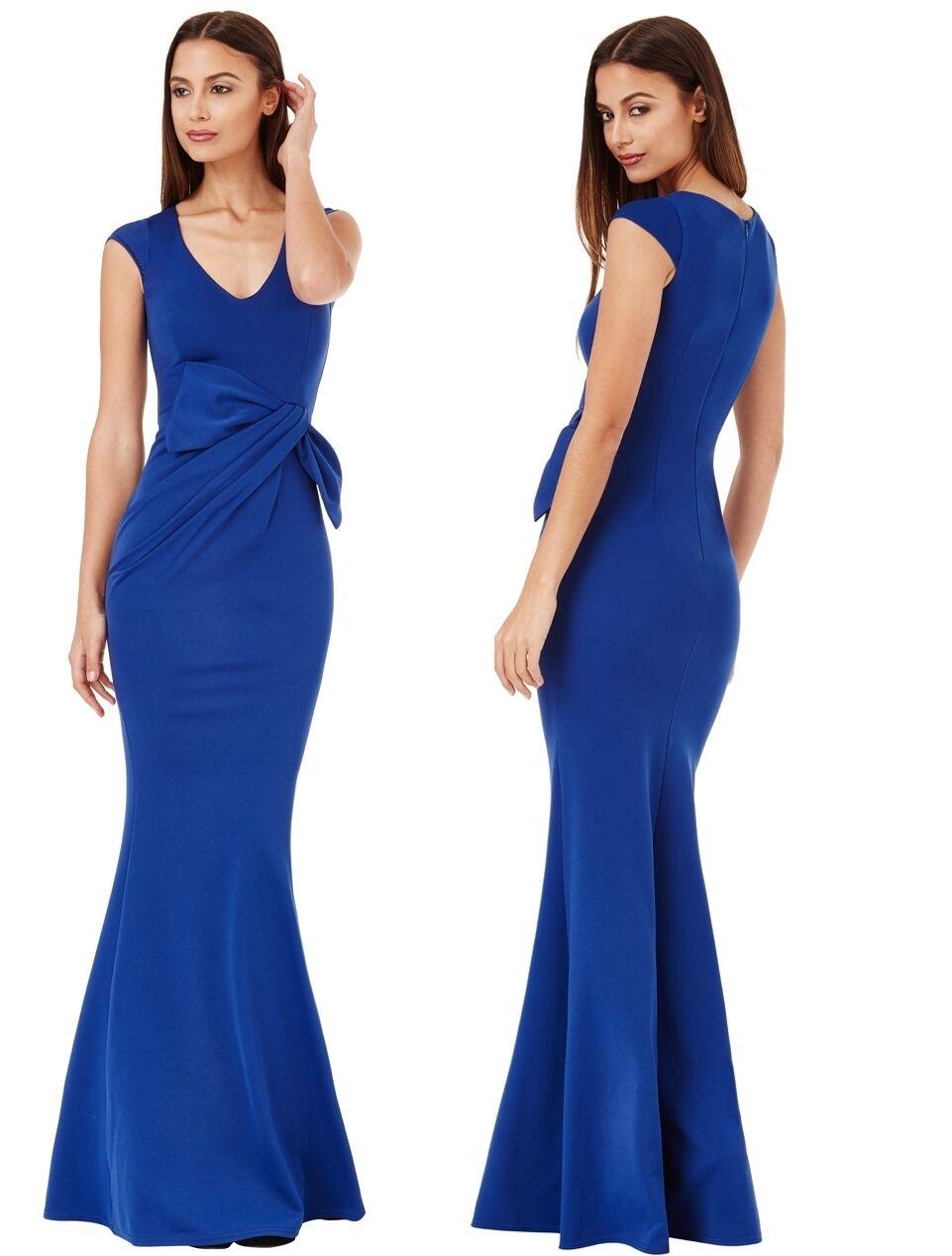 Goddiva lungo Royal blu drappeggio fiocco senza senza senza maniche da sera da abito lungo damigella d'onore d9263d