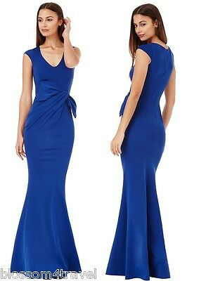 Goddiva Long Royal Blue Drape Bow Sleeveless Evening Prom Maxi Dress Bridesmaid