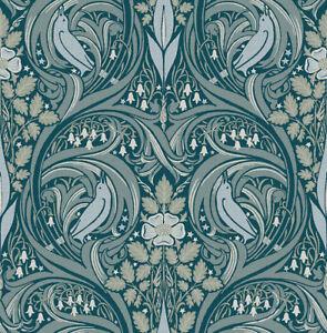Papier Peint,designtapete,espiègle,oiseaux,floral,scintillant,reed,pétrole,bleu