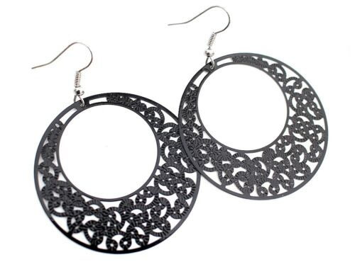 runde Anhänger NEU schwarz ornamentiert Ohrringe 1 Paar Ohrhänger Ornament