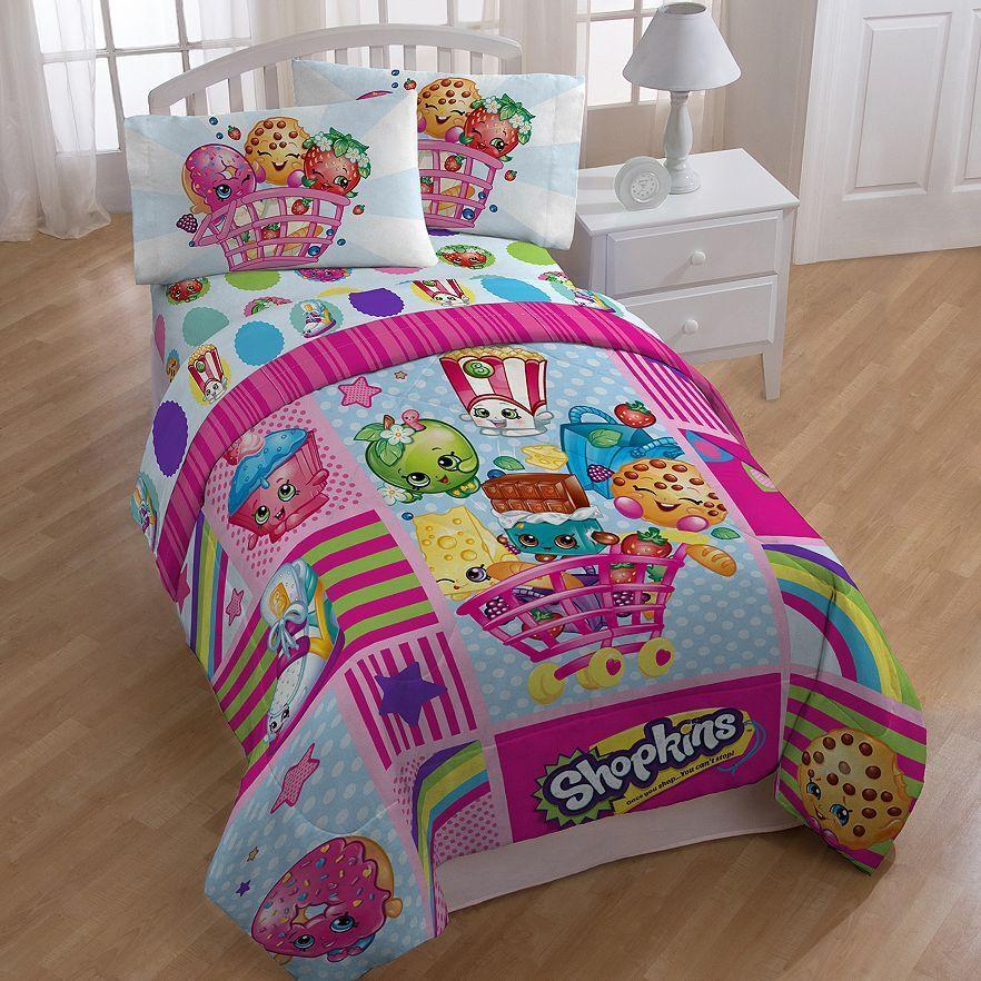 Shopkins Patchwork Girls Twin Comforter & Sheet Set (4 Piece Bed In A Bag)
