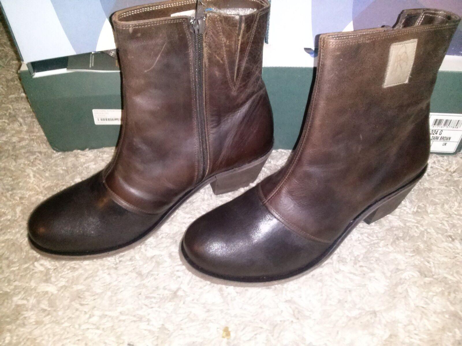 Señora botas cuero genuino de mywalker Oregon 001 marrón oscuro