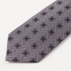 New-295-KITON-NAPOLI-7-Fold-Midnight-Navy-and-White-Interlocking-Print-Silk-Tie