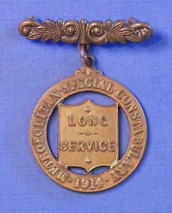 BRITISH METROPOLITAN POLICE SPECIAL CONSTABULARY LONG SERVICE MEDAL 1914 AB0389