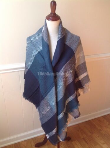 Women/'s Oversized Blanket Tartan Wrap Scarf XL Square Shawl Plaid Pashmina