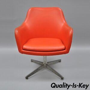 Image Is Loading Orange Vinyl Office Desk Chair Vintage Mid Century