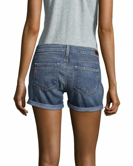 139 NWT PAIGE JEANS Sz27 HUTTON ROLLED MID RISE STRETCH DENIM SHORTS TONI blueE