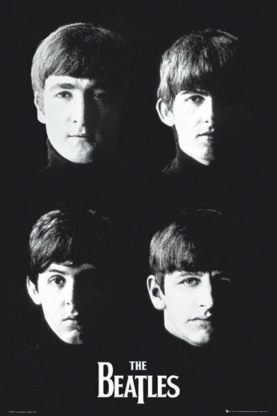 "THE BEATLES - MUSIC POSTER / PRINT (BLACK & WHITE - HEADS) (SIZE: 24"" X 36"")"