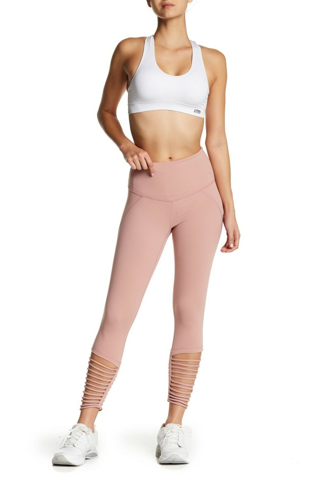 NWT ZELLA SOLD OUT HIGH WAIST MIDI LEGGINGS LIVE IN LEG LOOPS S PINK DUSK