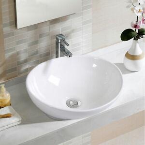 Oval-Bathroom-Basin-Ceramic-Vessel-Sink-Bowl-Vanity-Porcelain-w-Pop-Up-Drain