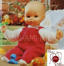 VINTAGE Knitting Pattern Copy DOLLS CLOTHES PREM BABY DUNGAREES SWEATER SOCKS DK