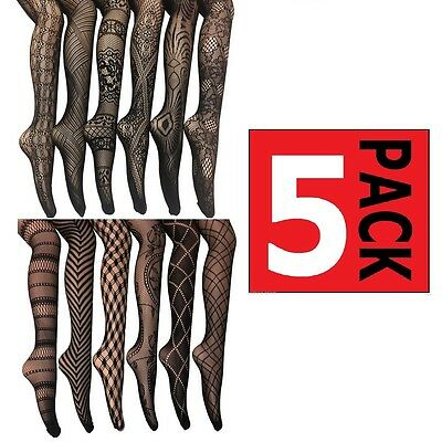 5 PAIRS x WOMENS SEXY BLACK FISHNET PATTERN STOCKINGS Pantyhose Tights Assorted