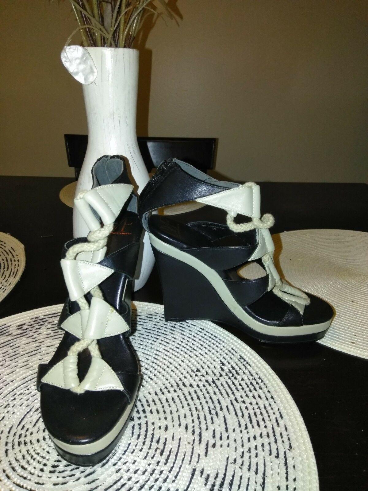 Diane Von Furstenberg DVF nero & grigio Leather Gladiator Wedge Sandals